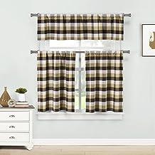 Home Maison Kingsville Plaid Gingham Checkered Kitchen 3 Piece Window Curtain Tier & Valance Set, 2 29 x 36 & One 58 x 15,...