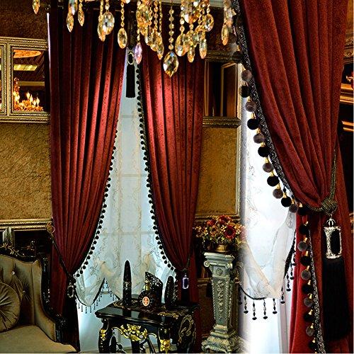 Luxury Pom Poms Curtain for Living Room Blackout Velvet 2 Panels Curtains Set Luxury Tassel Bedroom Curtains (Burgundy, (50W×84L)×2)