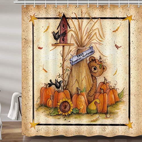 "Fall Thanksgiving Shower Curtains for Bathroom, Retro Autumn Pumpkin Sunflower Bear Bath Curtain Set, Vintage Polyester Fabric Bathroom Accessories Restroom Decor 12 Hooks Included (69""W X 72""H)"