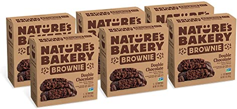 Nature's Bakery Whole Wheat Fig Bars, Double Chocolate Brownie, 6- 6 Count Boxes of 2 oz Twin Packs (36 Packs), Vegan Snacks, Non-GMO