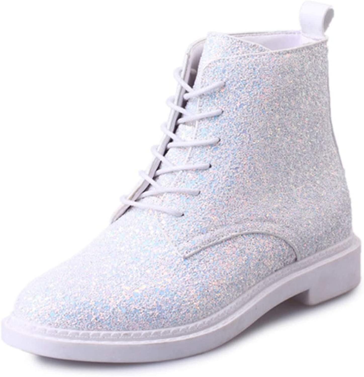 Women Martin boots artificial leather round head high-top lace-up boots flat with sequins European and American fashion new casual shoes,White,37EU