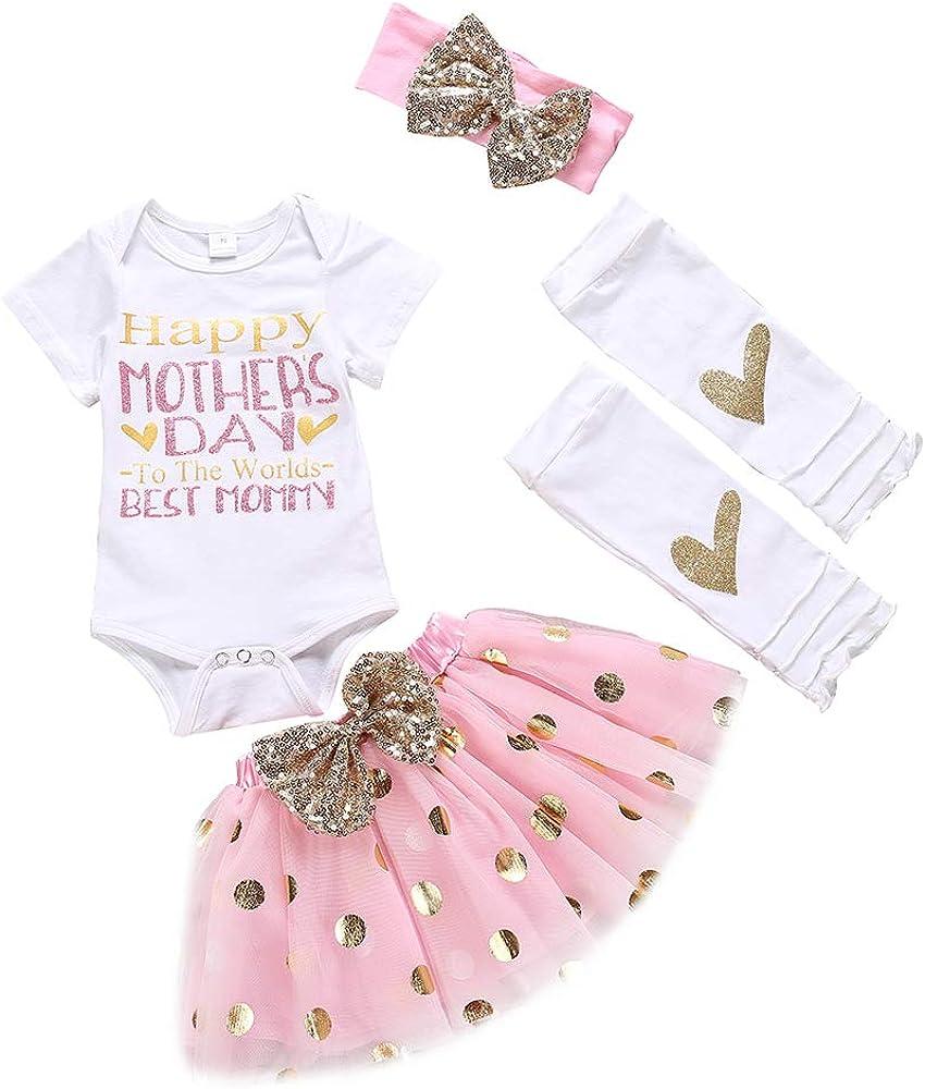 Newborn Baby Girl My 1st Mother's Day Skirt Set Romper+Tutu Pink Dot Skirt+Headband+Legging Warmer 4Pcs