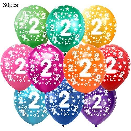 Bluelves Kunterbunte Luftballons 2 Jahre Metallic 30pcs Deko zum 2. Geburtstag Junge Mädchen, Jubiläum Hochzeit Party Kindergeburtstag Happy Birthday Dekoration Zahl 2