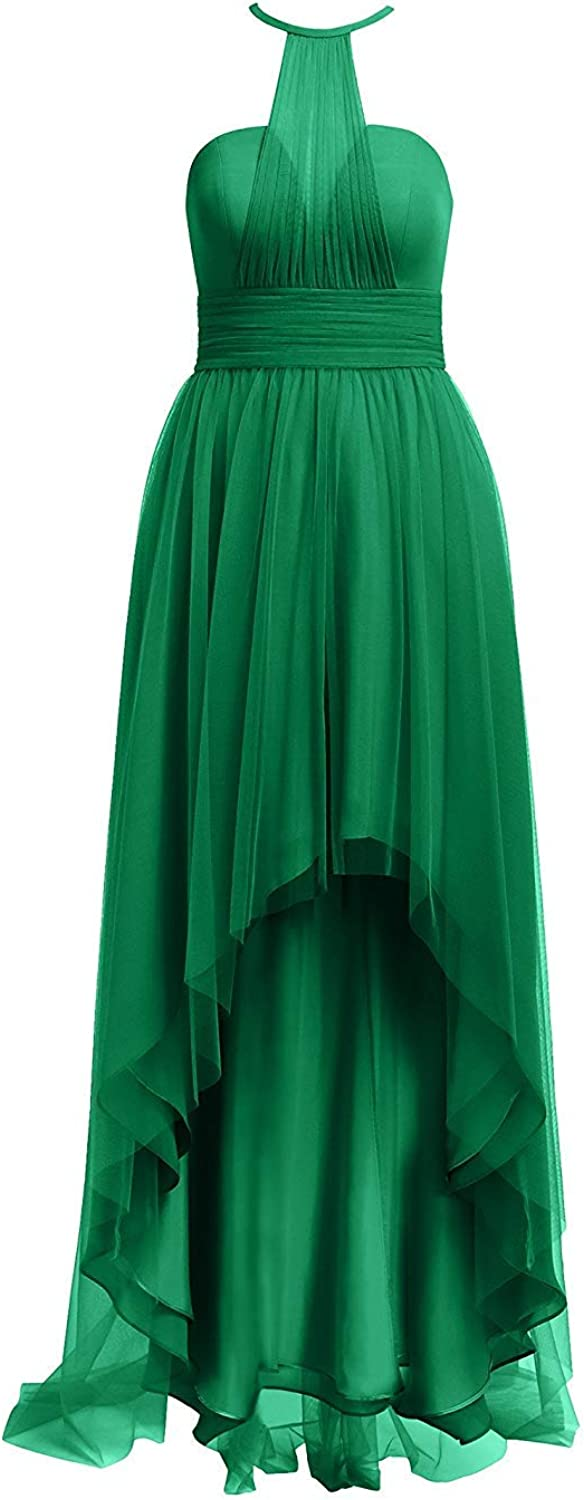 Tulle Bridesmaid Dresses High Low Halter Prom Party Gowns Backless Evening Formal Dress