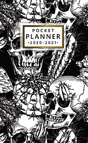 Pocket Planner 2020-2021: Retro Cactus Skull Two Year Monthly Schedule Agenda & Calendar - Nifty 2 Year Organizer with Inspirational Quotes, Phone Book, Holidays, Vision Board & Notes