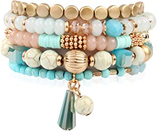 Bohemian Mix Bead Multi Layer Versatile Statement Bracelets - Stackable Beaded Strand Stretch Bangles Sparkly Crystal, Tassel Charm