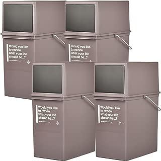 like-it カフェスタイル 浅 フロントオープンダスト CFS-11 全3色の中から選べる4個セット ゴミ箱 ごみ箱 ダストボックス ふた付き おしゃれ ライクイット (ブラウン4個)