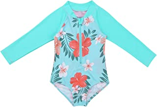 moily Infant Baby Girls Long Sleeve Floral Ruffles One Piece Swimsuit Rash Guard Shirts Bathing Suit