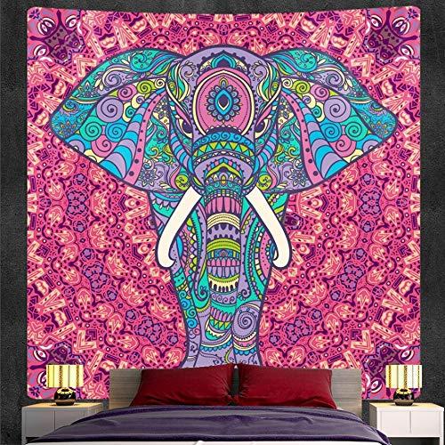 PPOU Tapiz de Mandala de Elefante Indio Colgante de Pared Estilo Bohemio Manta Decorativa Hippie Tela Colgante A4 100x150 cm