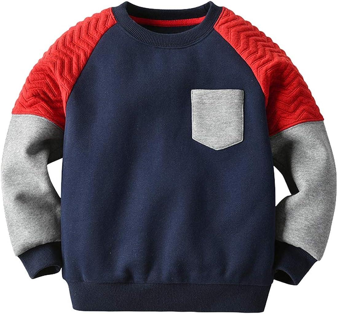 Boy's Fleece Sweatshirt 2-8 Years Neck Pullover Crew Kid's Mesa Mall Fall Outstanding