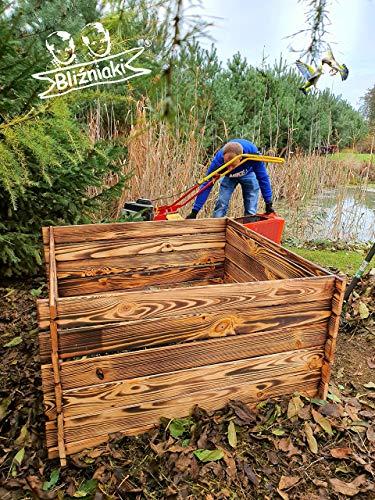 BLIZNIAKI Holzkomposter ECO Komposter 95 X 95 X 46cm Kompostbehälter Gartenkomposter Einfach zusammenzubauen Kompostsilo bausatz KOM1 Opal