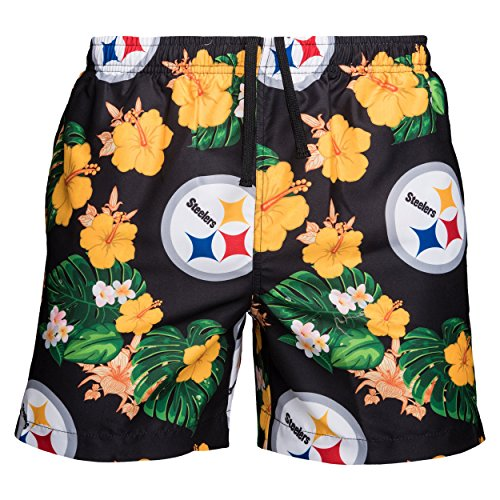 FOCO Mens Team Logo Floral Hawaiian Swimsuit Trunks, Color, XL (34'-36'), Pittsburgh Steelers, Team Color