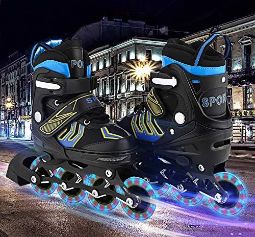 Aceshin Inline Skates Kids, Roller Skates Adjustable Illuminating Wheels, Safe and Durable for Boys and Girls (R3-Black&Blue, L-5-8)