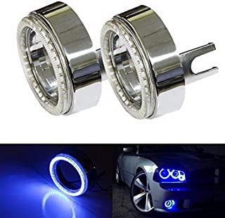 iJDMTOY (2) Ultra Blue 40-SMD LED Angel Eyes Halo Rings w/Chrome Shrouds For Fog Lights Custom Retrofit DIY Use
