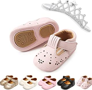 nobrand Infant Toddler Girls Mary Jane Flats Dress Shoes Soft Rubber Sole Baby Girls Walking Shoes Baby Moccasins, 1806pin...