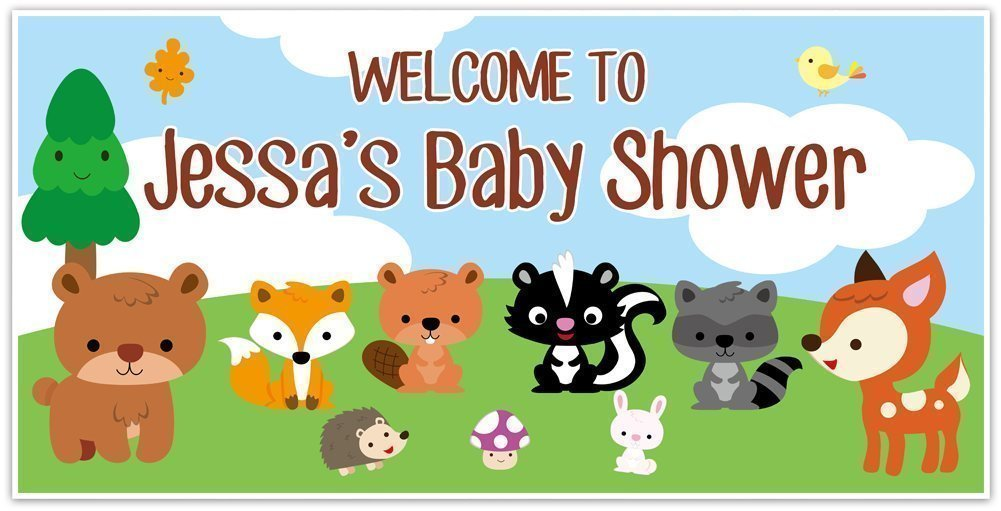 Cash Super beauty product restock quality top! special price Woodland Creatures Forest Baby Animals Shower Banner