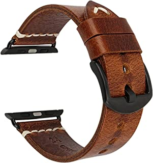MAIKES Compatible with Apple Watch Band Genuine Leather Watch Strap/Watchband Replacement for iWatch Apple Watch for Serie...