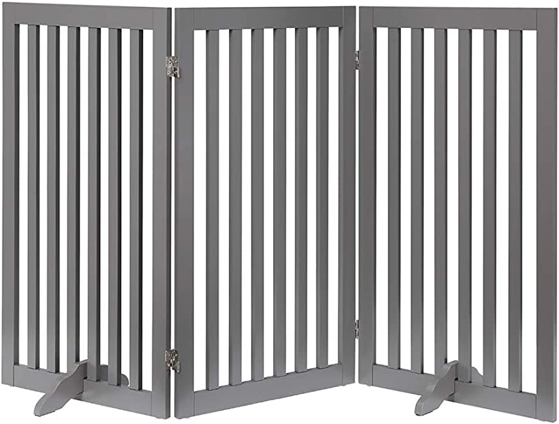Unipaws Freestanding Wooden Dog Gate Foldable Pet Gate With 2Pcs Support Feet Dog Barrier Indoor Pet Gate Panels For Stairs Gray