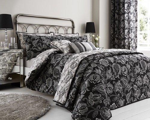 Linens and Curtains Juego de funda nórdica y cortinas con diseño de flores de Cary – 2 tamaños, 2 colores, negro, matrimonio