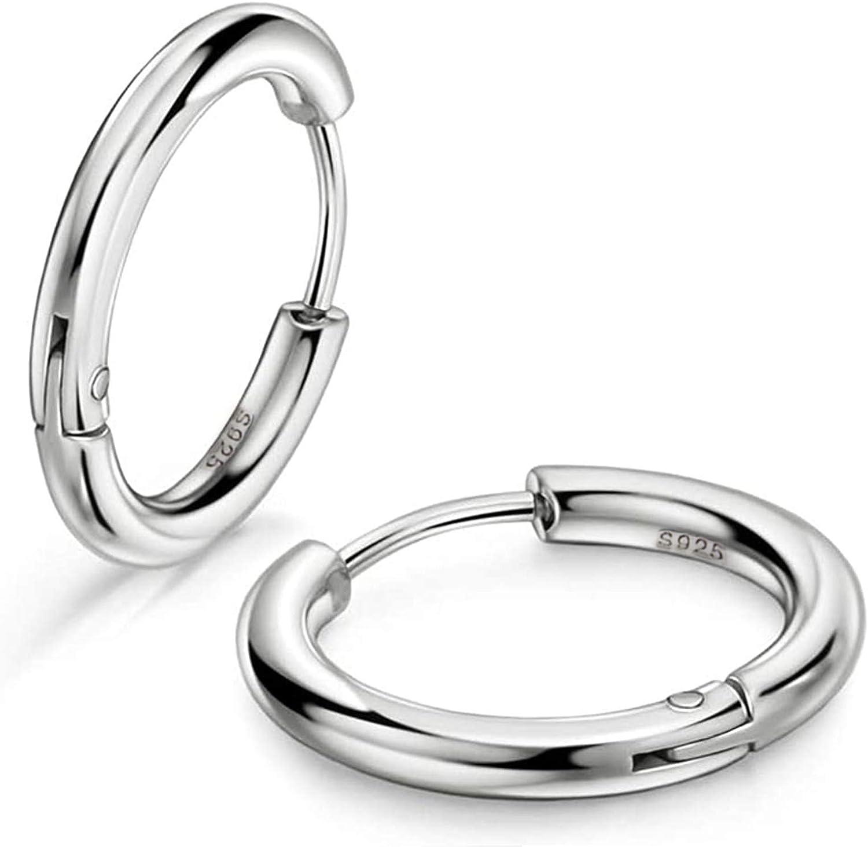 Nippon regular agency Small Silver Hoop Earring Philadelphia Mall for Hypo Sterling Men Women 925