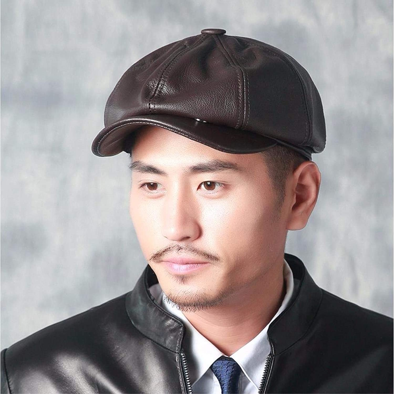Dingkun Man woman autumn and winter casual leather hat painter hat newspaper hat cap octagonal cap