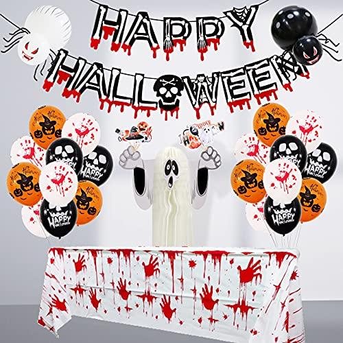 NC Halloween Deko Set - 37 Packung Halloween Dekoration Luftballons Girlande mit Orange Weiß Schwarz Latex Ballons, Spinnenballon, Bluthandabdruck für Halloween Party, Kinder Décor