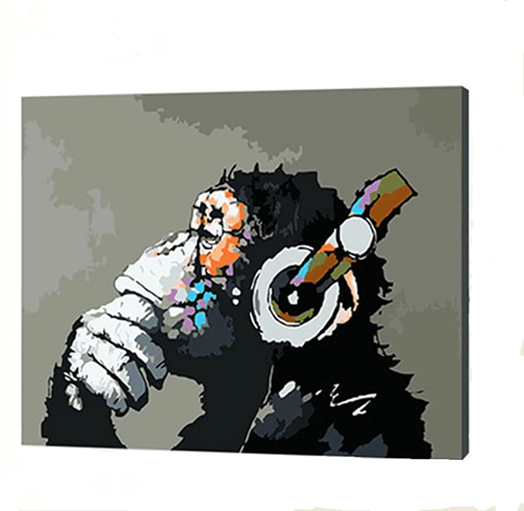 YXQSED [Wooden Frame] DIY Oil Painting Paint by Number Kit- Music and Monkey 16X20 inch