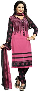 Rensila Fab Women French Crepe Dress Material (RFO_Pink Lady_D_Pink_Free Size)