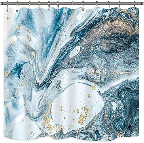 Blue Marble Shower Curtain Abstract Art Swirls Ripples Ocean Natural Luxury Agate Printed Fabric Waterproof Bathtub Decor 12 Pack Plastic Hooks 72Wx72H Inch