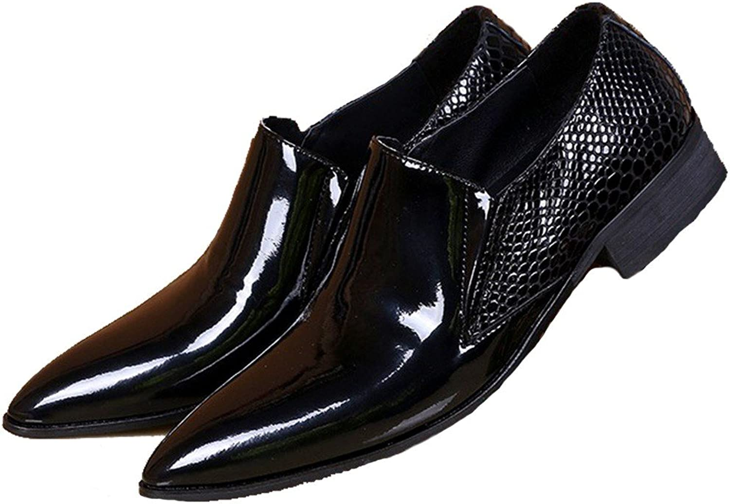 Cover Plus Size 5-12 New Black Genuine Patent Leather Dress Loafers Mens shoes