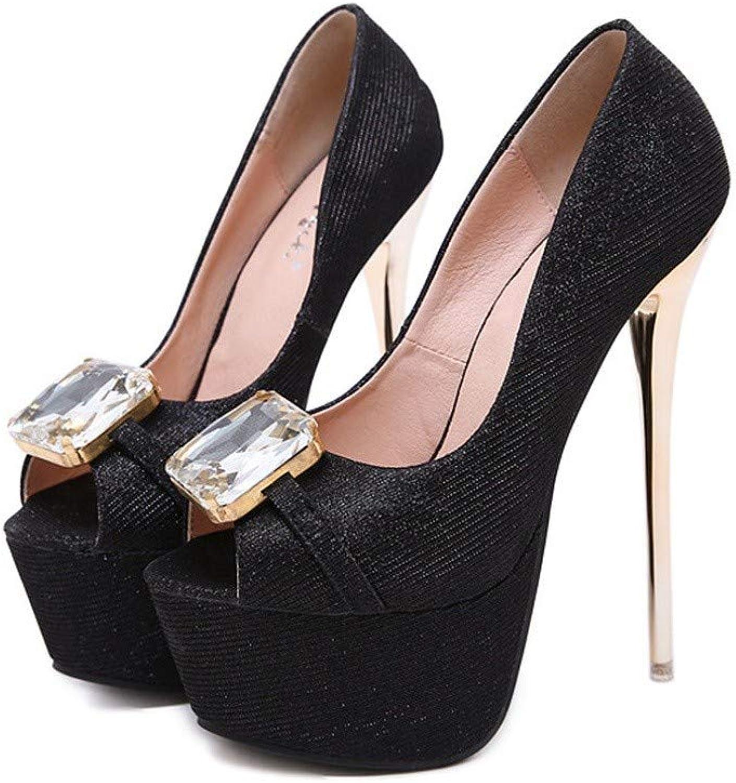 Sandalen Europa Und Amerika Frauen Mikrofaser 16.5Cm Mode Sexy Wilde Nachtclub Runde Kopf Fisch Mund High Heel Einzelne Schuhe