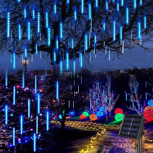 Solar Meteor Shower Rain Lights Outdoor, Blue Meteor Lights 30cm 8...
