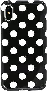 iPhone X Case, Lartin Jellybean Gel Case for iPhone X (Black White Polka Dot)