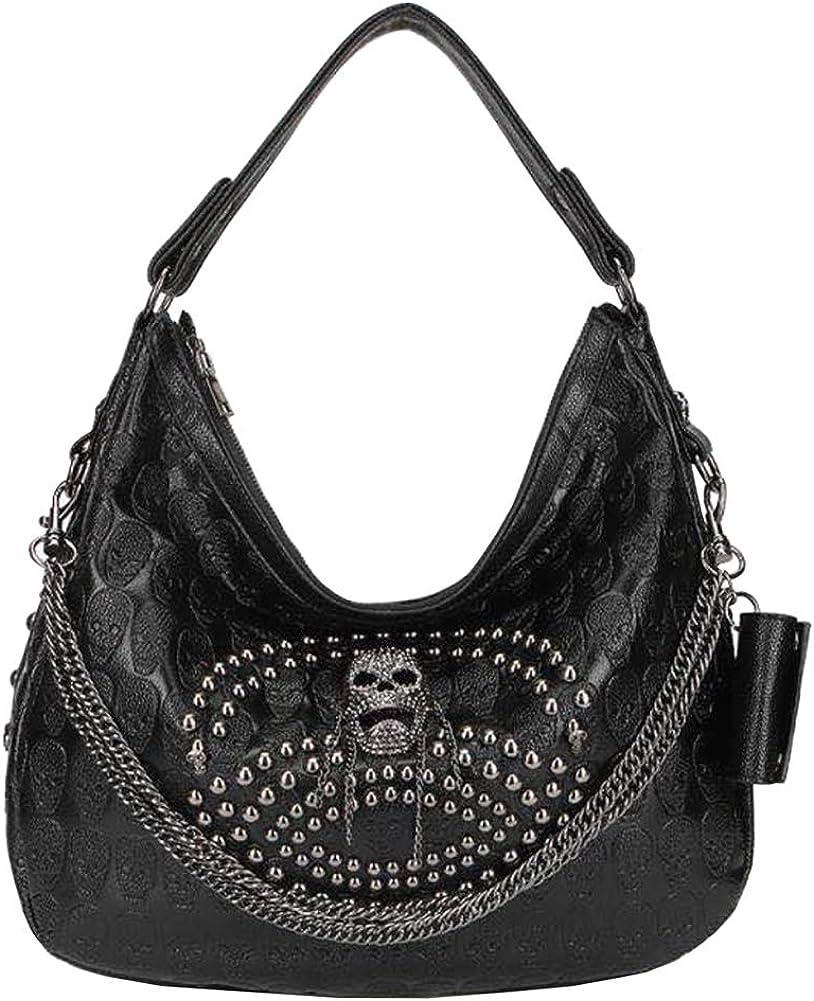 Women Skull Shoulder Hobo Bags PU Punk Rivet Chain Handbag Purses Black Satchels