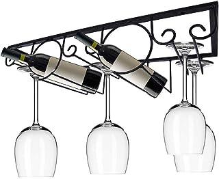 DYFAR Casier à Verre à vin, Support de Rangement en Verre à vin Noir Organisateur Support de Cintre Support de Verre à Pie...