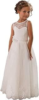 CDE Vintage Lang Kinder Tüllkleid Spitzenkleid mit Gürtel/Chic A-Linie Kommunionkleider Brautjungfern Kleider Blumenmädchenkleider für Mädchen 2-12 Jahr