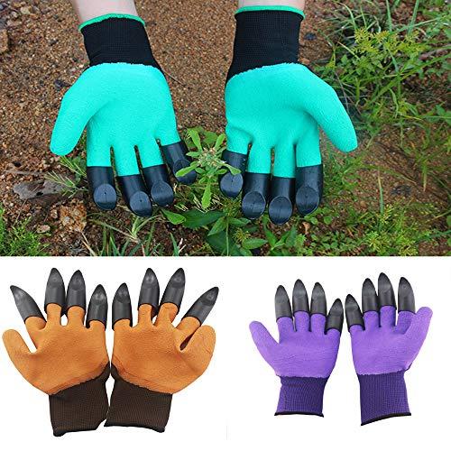 WYZTLNMA Guantes de jardinería, Resistentes a Espinas Guantes de jardín geniales Impermeables Seguros con Garras para cavar siembra desmalezar siembra Empujar, Aptos para Mujeres Hombres (Púrpura)