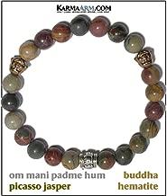 Tibetan Buddhist Bracelet   Om Mani Padme Hum Mantra Prayer Wheel   Picasso Jasper   Hematite Buddha   Spiritual Reiki Healing Energy Chakra Wristband Meditation Yoga Jewelry