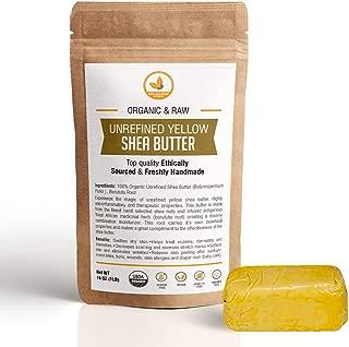 SheaGrowers Raw Organic Shea Butter - Grade A Unrefined African Pure Shea Butter For Face, Hair & Body (1lb, YELLOW)