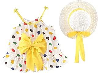Vestido de bebé + Gorro con Estampado de Flor para niña bebé Ropa Conjuntos Bautizo Vestido sin Mangas