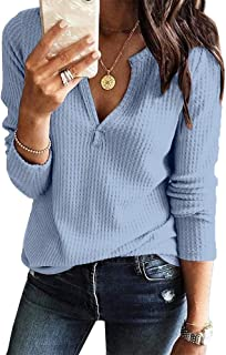 Women's V Neck Waffle Knit Henley Tops Casual Long Sleeve Pullover Sweater Blouses