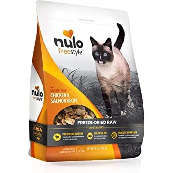 Nulo Freestyle Freeze-Dried Raw Cat Food - Grain Free Cat Food with Probiotics, Ultra-Rich Protein to Support Digestive and Immune Health - Premium Pet Food Topper, Chicken & Salmon or Turkey & Duck