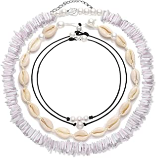 4 Pcs Shell Choker Necklace Puka Chips 14 16 18 inch Seashell Short Hawaiian Boho Summer Beach Bohemia Jewelry Set Hawaii Wakiki Cowrie Beads Cord Pearls Pendants for Women Girls Adjustable Necklaces