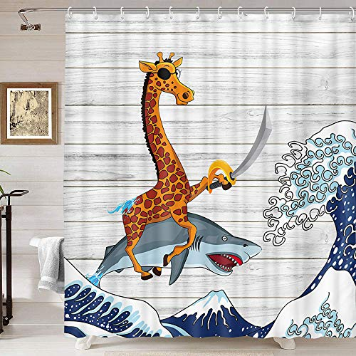 Funny Animals Shower Curtain, Cool Giraffes Riding Sharks with Ocean Wave on Rustic Wood Shower Curtains, Oriental Vintage Japanese Kanagawa Wave Art Fabric Shower Curtain for Bathroom 69X70IN