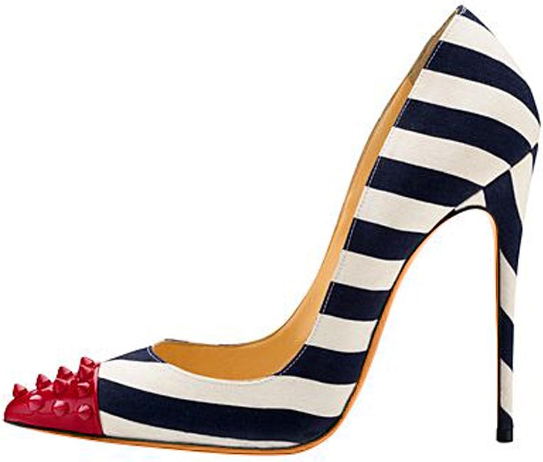 Joogo Women Slingbacks Peep Toe Sandals Hight Heel Platform Pumps shoes in Party Stripe Multicolor