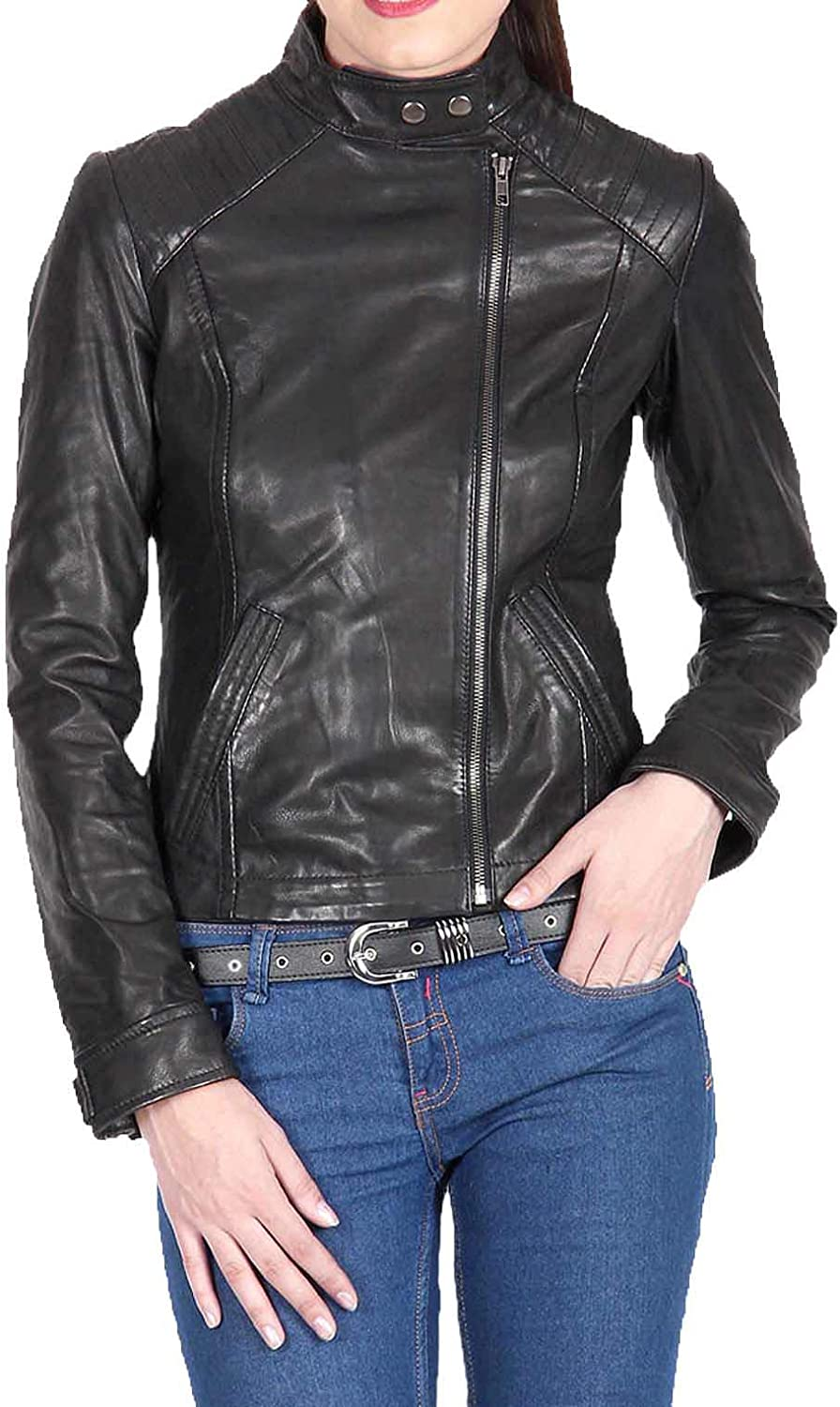 Women's Stylish Lambskin Genuine Leather Jacket WJ90