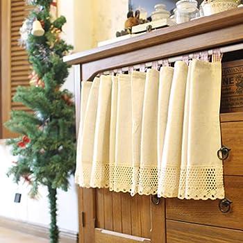 choicehot - Visillo de cocina con algodón y lino, cortina corta, color beige, estilo rústico, ribete de ganchillo, cortina semitransparente, 60 x 130 cm (alto x ancho), 1 unidad, algodón, beige, 100*130cm: Amazon.es: Hogar
