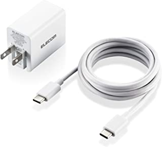 エレコム GaN(窒化ガリウム) ACアダプター ACDC-PD1530WH ノートPC/Macbook Air/iPad Pro/スマートフォン/タブレット他 PD認証 最大30W Type-C1ポート C-Cケーブル付属 2m ホワイト