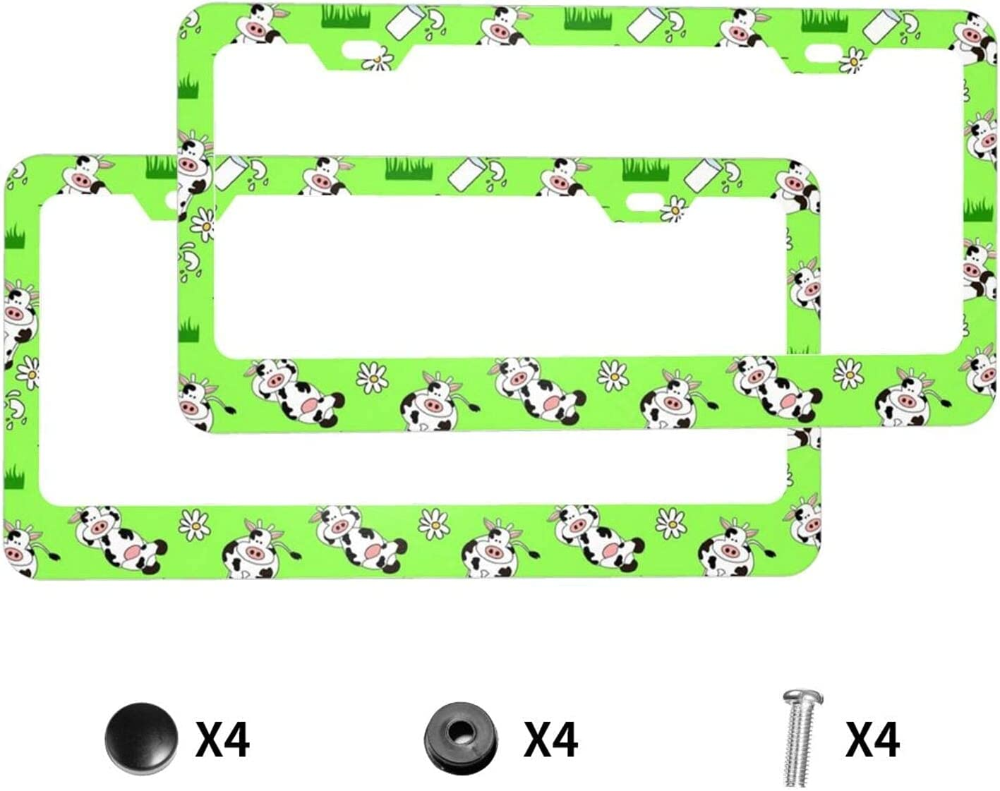 Animer and price revision JDCreativity 2 Luxury Sets Funny Cow Metal Auto Plate License Dec Frame