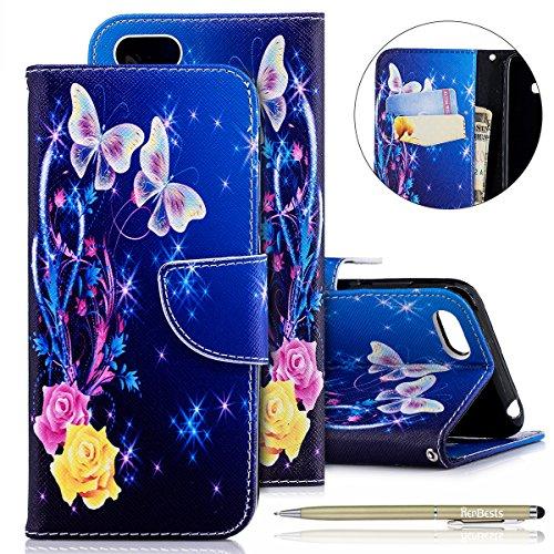 Herbests Kompatibel mit Huawei Y5 2018 Handyhülle Handytasche Leder Flip Cover Lederhülle Ledercase 3D Vintage Muster Klapphülle Dünn Magnetisch Wallet Schutzhülle,Rose Blumen Butterfly